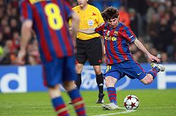 Barcelona's Lionel Messi scores during match. March 17, 2010, Camp Nou, Barcelona.