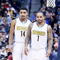 03 February 2016: Denver Nuggets guard Jameer Nelson (1) is seen next to Denver Nuggets guard Gary Harris (14) during the Denver Nuggets 121-117 victory over the Milwaukee Bucks, at the Pepsi Center, Denver, Colorado, USA.