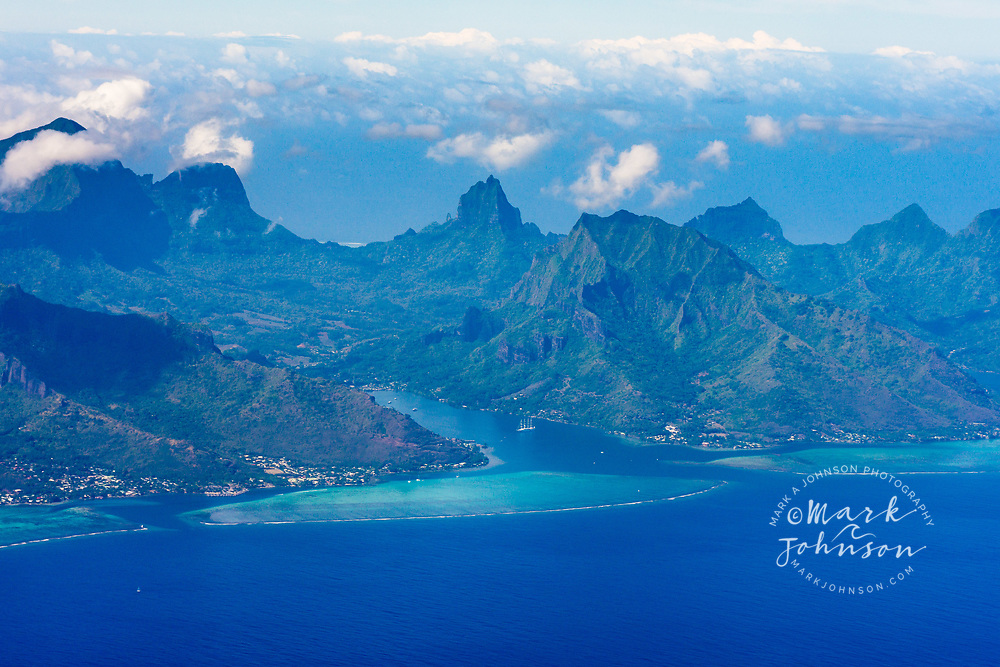 Aerial photograph of Cooks Bay, Moorea, French Polynesia
