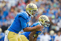 17 October 2012: Quarterback (17) Brett Hundley of the UCLA Bruins waits for the snap against the USC Trojans during the first half of UCLA's 38-28 victory over USC at the Rose Bowl in Pasadena, CA.