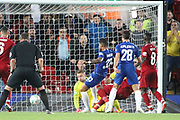 33 Emerson scores a goal for Chelsea FC during the EFL Cup match between Liverpool and Chelsea at Anfield, Liverpool, England on 26 September 2018.