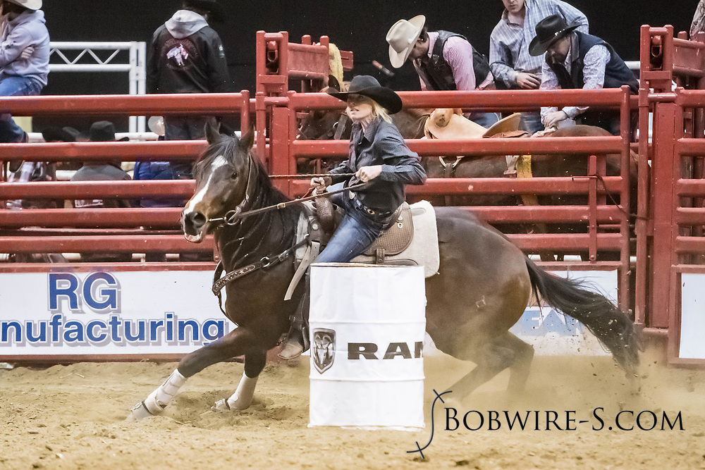 Kelly Anders makes her barrel run at the Bismarck Rodeo on Friday, Feb. 2, 2018. She ran an 18.40.