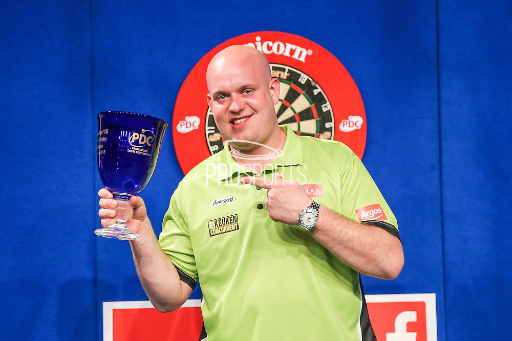 Michael van Gerwen wins the Gibraltar Darts Trophy beating Dave Chisnall 6-2 in the final during the 2016 Gibraltar Darts Trophy at the Victoria Stadium, Gibraltar on 8 May 2016. Photo by Shane Healey.