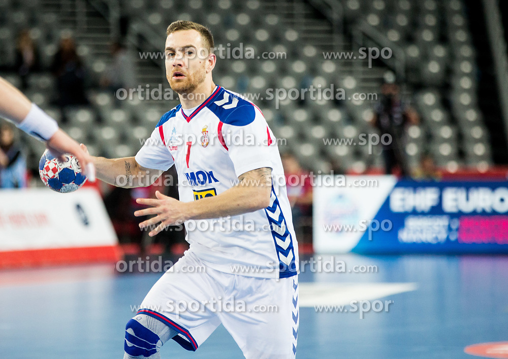 Stefan Vujic of Serbia during handball match between National teams of Serbia and Belarus on Day 7 in Main Round of Men's EHF EURO 2018, on January 24, 2018 in Arena Zagreb, Zagreb, Croatia.  Photo by Vid Ponikvar / Sportida