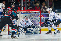 KELOWNA, CANADA - OCTOBER 5: Griffen Outhouse #30 of the Victoria Royals defends the net against the Kelowna Rockets  on October 5, 2018 at Prospera Place in Kelowna, British Columbia, Canada.  (Photo by Marissa Baecker/Shoot the Breeze)  *** Local Caption ***