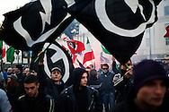 Napoli, Italia - 26 novembre 2011. Un momento della manifestazione nazionale degli attivisti di destra di CasaPound a Piazza Carlo III a Napoli. .Ph. Roberto Salomone Ag. Controluce.ITALY - A moment of the rally of extreme right members of CasaPound movement in Naples on November 26, 2011.