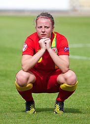 19.08.2013, Parcy Scarlets, Swansea, ENG, UEFA Damen U19 EM, Wales vs Daenemark, Gruppe A, im Bild Wales' Hannah Keryakoplis looks dejected as her side lose 1-0 to Denmark during the UEFA women U 19 championchip group A match between Wales and Denmark at Parcy Scarlets in Swansea, Great Britain on 2013/08/19. EXPA Pictures &copy; 2013, PhotoCredit: EXPA/ Propagandaphoto/ David Rawcliffe<br /> <br /> ***** ATTENTION - OUT OF ENG, GBR, UK *****