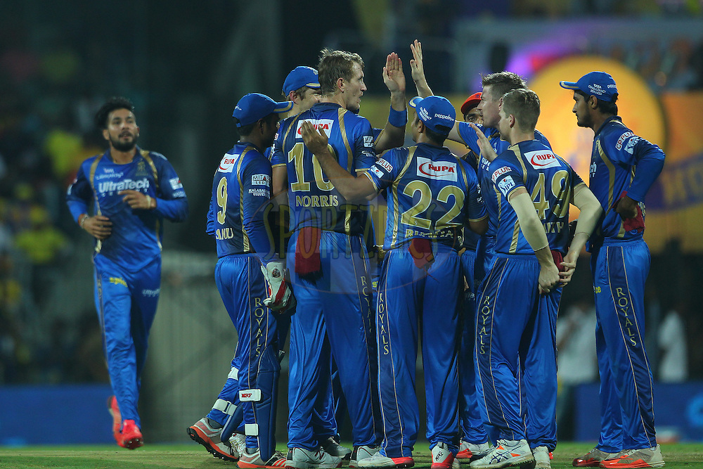 Christopher Morris of the Rajasthan Royals celebrates the wicket of Suresh Raina of the Chennai Superkings  during match 47 of the Pepsi IPL 2015 (Indian Premier League) between The Chennai Superkings and The Rajasthan Royals held at the M. A. Chidambaram Stadium, Chennai Stadium in Chennai, India on the 10th May 2015.<br /> <br /> Photo by:  Ron Gaunt / SPORTZPICS / IPL
