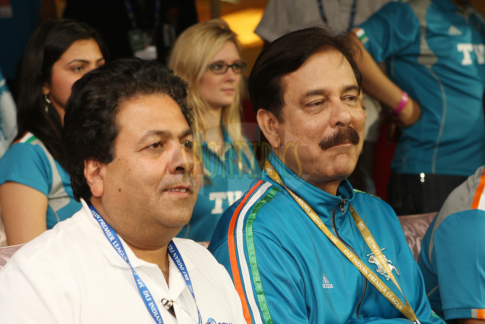 Rajiv Shukla with Pune Warriors team owner Subrata Roy enjoying the cricket during match 21 of the the Indian Premier League ( IPL) 2012  between The Royal Challengers Bangalore and the Pune Warriors India held at the M. Chinnaswamy Stadium, Bengaluru on the 17th April 2012..Photo by Jacques Rossouw/IPL/SPORTZPICS