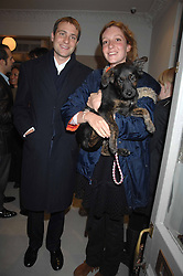 BEN & KATE GOLDSMITH and their dog Maggie at a book signing of Lady Annabel Goldsmith's book 'Copper: A Dog's Life' held at Mungo & Maud, 79 Elizabeth Street, London SW1 on 20th February 2007.<br />