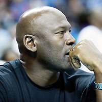 01 November 2015: Former NBA player and Charlotte Hornets owner Michael Jordan is seen curtsied during the Atlanta Hawks 94-92 victory over the Charlotte Hornets, at the Time Warner Cable Arena, in Charlotte, North Carolina, USA.