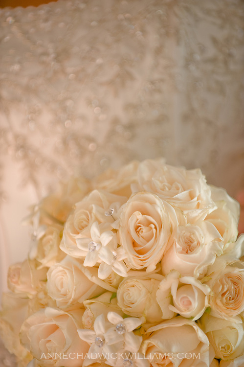 A bride's flower bouquet before her wedding at Carmichael Presbyterian Church, Carmichael, California.
