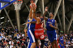 Lewis Champion of Bristol Flyers finds his path to the basket blocked by the defence - Photo mandatory by-line: Arron Gent/JMP - 28/09/2019 - BASKETBALL - Crystal Palace National Sports Centre - London, England - London City Royals v Bristol Flyers - British Basketball League Cup