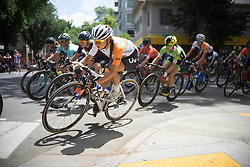 Anouska Koster (NED) of Rabo-Liv Cycling Team leans into a corner during the fourth, 70 km road race stage of the Amgen Tour of California - a stage race in California, United States on May 22, 2016 in Sacramento, CA.