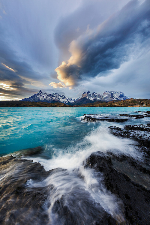 Storm clouds build over the Paine Massif, Torres del Paine National Park, Patagonia, Chile.
