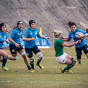 L'Aquila 12/02/2017 Stadio Fattori<br /> RBS 6 nations women 2017<br /> Italia vs Irlanda <br /> Sara Barattin si libera di Paula Fitzpatrick