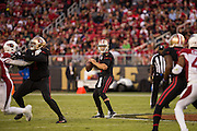 San Francisco 49ers quarterback Blaine Gabbert (2) looks for an open receiver against the Arizona Cardinals at Levi's Stadium in Santa Clara, Calif., on October 6, 2016. (Stan Olszewski/Special to S.F. Examiner)