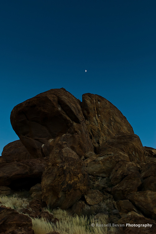 Large Rock Formation with Moon, Mirabib, Namibia