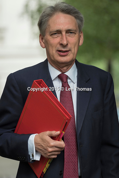 Downing Street, London, UK. 16th June 2015. Government ministers arrive at Downing Street for their weekly Cabinet meeting. Pictured: Secretary of State for Foreign and Commonwealth Affairs -  Philip Hammond. // Lee Thomas, Flat 47a Park East Building, Bow Quarter, London, E3 2UT. Tel. 07784142973. Email: leepthomas@gmail.com. www.leept.co.uk (0000635435)