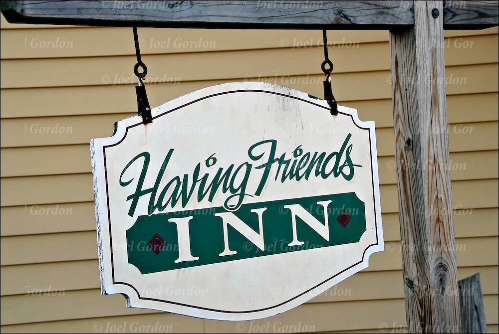 "Play on words, miss spelled sign""Having Friends INN"" in Sayville NY"