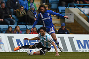 Gillingham midfielder Bradley Dack battles for the ball during the Sky Bet League 1 match between Gillingham and Shrewsbury Town at the MEMS Priestfield Stadium, Gillingham, England on 23 April 2016. Photo by Martin Cole.