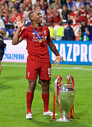 MADRID, SPAIN - SATURDAY, JUNE 1, 2019: Liverpool's Daniel Sturridge dances with the trophy after the UEFA Champions League Final match between Tottenham Hotspur FC and Liverpool FC at the Estadio Metropolitano. Liverpool won 2-0 to win their sixth European Cup. (Pic by David Rawcliffe/Propaganda)