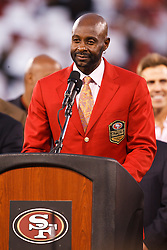 September 20, 2010; San Francisco, CA, USA;  Jerry Rice speaks at a ceremony retiring his number during halftime of the game between the San Francisco 49ers and the New Orleans Saints at Candlestick Park.