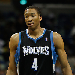 February 7, 2011; New Orleans, LA, USA; Minnesota Timberwolves small forward Wesley Johnson (4) against the New Orleans Hornets during the third quarter at the New Orleans Arena. The Timberwolves defeated the Hornets 104-92.  Mandatory Credit: Derick E. Hingle