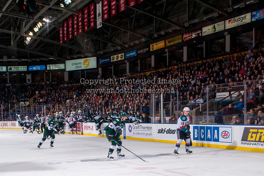 KELOWNA, CANADA - FEBRUARY 2:  Kole Lind #16 of the Kelowna Rockets looks for the pass against the Everett Silvertips on FEBRUARY 2, 2018 at Prospera Place in Kelowna, British Columbia, Canada.  (Photo by Marissa Baecker/Shoot the Breeze)  *** Local Caption ***