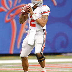 January 4, 2011; New Orleans, LA, USA;  Ohio State Buckeyes quarterback Terrelle Pryor (2) during warm ups prior to kickoff of the 2011 Sugar Bowl against the Arkansas Razorbacks at the Louisiana Superdome.  Mandatory Credit: Derick E. Hingle