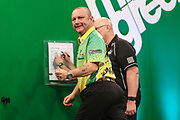 Darren Webster celebrates winning a leg during the PDC Darts Players Championship at  at Butlins Minehead, Minehead, United Kingdom on 24 November 2017. Photo by Shane Healey.