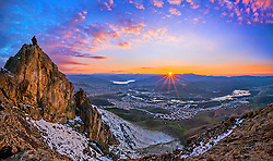 """Rojavaî Rojhelat (Sunset of the East)!Seven pictures used for making this panorama!The beautiful city of Mahabad!Mahabad is situated in a region that was the center of the Mannaeans, who flourished in 10th to 7th centuries BC. Mannaeans """"after suffering several defeats at the hands of both Scythians and Assyrians, the remnants of the Mannaean populace were absorbed by an Iranian people known as the Matieni and the area became known as Matiene. It was then annexed by the Medes in about 609 BC."""