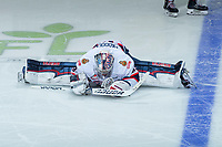 REGINA, SK - MAY 20: Max Paddock #33 of Regina Pats stretches on the ice during a second period time out against the Acadie-Bathurst Titan at the Brandt Centre on May 20, 2018 in Regina, Canada. (Photo by Marissa Baecker/CHL Images)