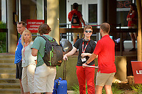 Orientation check-in at Lee Residence Hall.
