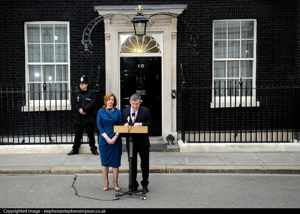 Gordon and Sarah Brown on Downing Street.Gordon Brown resigns as the UK Prime Minister.