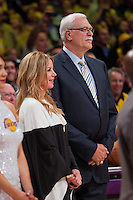 02 April 2013: Jeanie Buss and Phil Jackson stand during the jersey retirement ceremony for retired Los Angeles Lakers center (34) Shaquille O'Neal during halftime of  the Lakers 101-81 victory over the Dallas Mavericks at the STAPLES Center in Los Angeles, CA.