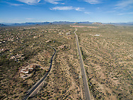 Aerial drone photography of land, real estate, Scottsdale, AZ