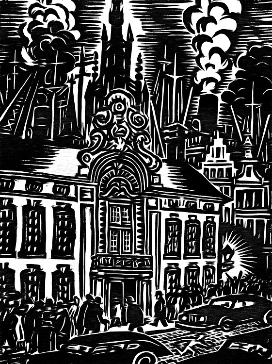 A black / white drawing of a funeral in Antwerp