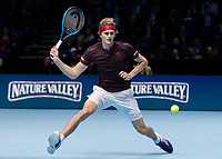 Tennis - 2017 Nitto ATP Finals at The O2 - Day Five<br /> <br /> Group Boris Becker Singles: Alexander Zverev (Germany) Vs Jack Sock (United States)<br /> <br /> Alexander Zverev (Germany) stretches his tall frame to reach the ball at the O2 Arena<br /> <br /> COLORSPORT/DANIEL BEARHAM