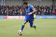 AFC Wimbledon striker Andy Barcham (17) dribbling during the The FA Cup match between AFC Wimbledon and Charlton Athletic at the Cherry Red Records Stadium, Kingston, England on 3 December 2017. Photo by Matthew Redman.