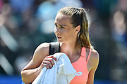Magdalena RYBARIKOVA (SVK) leaves the court ofter being beaten by Johanna KONTA (GBR) during the women's semi-final at the Aegon Open Nottingham at Nottingham Tennis centre, Nottingham, United Kingdom on 17 June 2017. Photo by Jon Hobley.