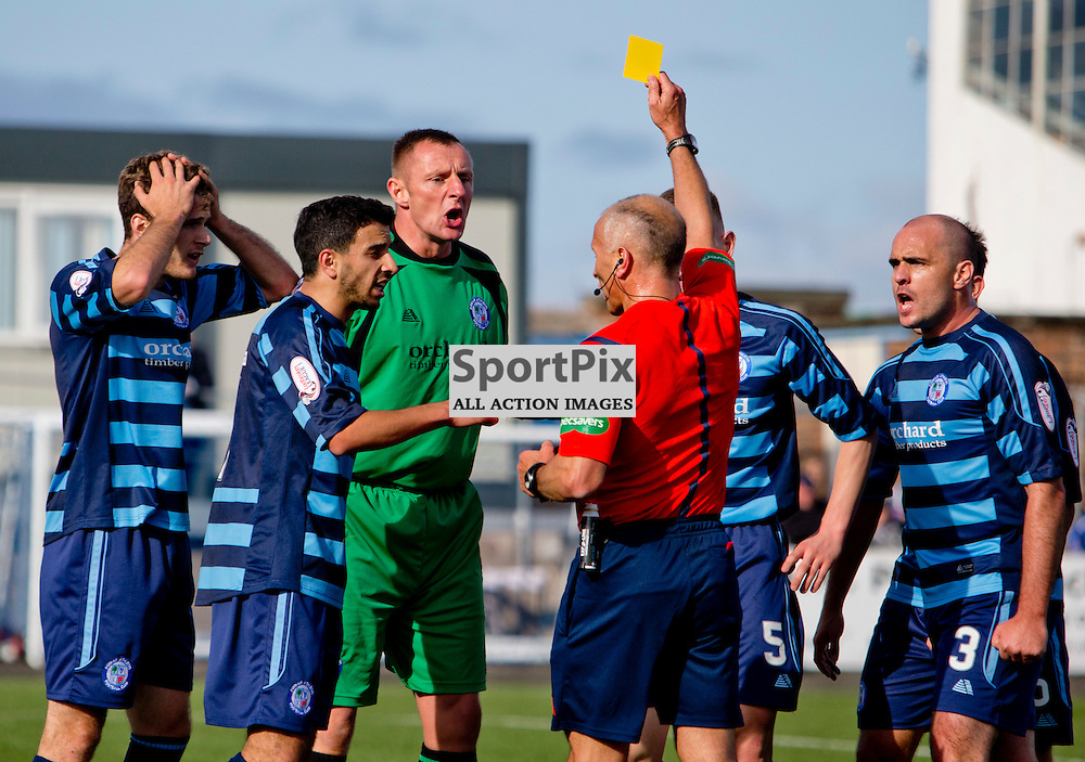 Forfar Athletic v Dunfermline Athletic SPFL League One Season 2015/16 Station Park 05 September 2015<br /> Rab Douglas is booked after conceding a penalty<br /> CRAIG BROWN | sportPix.org.uk