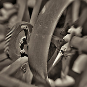 Rusted Drive Gear And Pulley - Motor Transport Museum - Campo, CA - Lensbaby - Sepia Black & White