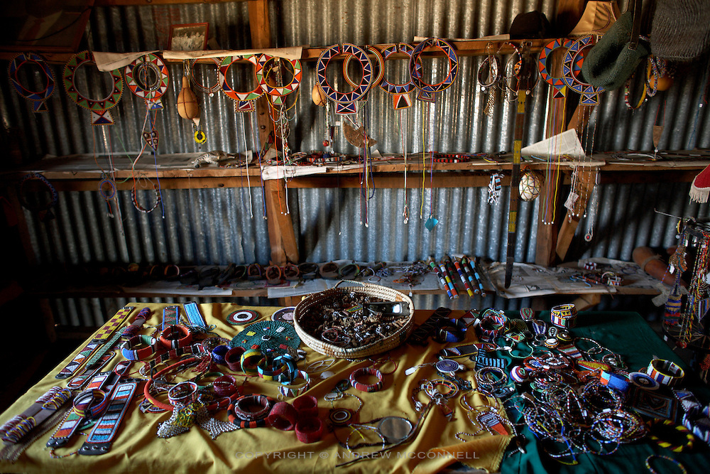 Maasai jewelry in the Namayiana Maasia Women's Group shop in the Rift Valley, Kenya, on Thursday, Jan. 15, 2008. The Maasai are one of groups who contribute to production of the MAX&Co. range and mainly carry out bead work at which they are specialists. MAX&Co visited this women's group in the Rift Valley to look at the various Maasai designs and products in the hope of finding inspiration for their winter collection.