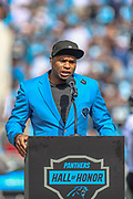 Sunday, October 6, 2019; Charlotte, N.C., USA;  Former Carolina Panthers wide receiver Steve Smith was inducted into the Panthers Hall of Honor during an NFL game at Bank of America Stadium. The Carolina Panthers beat the Jacksonville Jaguars 34-27. (Brian Villanueva/Image of Sport)