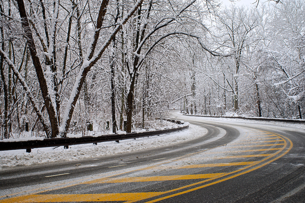 Winding road in the Cresheim valley in the NorthWest section of Philadelphia.