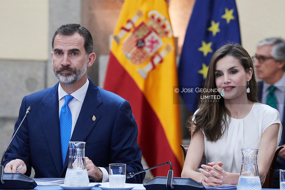 King Felipe VI of Spain, Queen Letizia of Spain  attended the annual meeting with members of Princess of Asturias Foundation at El Pardo palace on June 16, 2017 in Madrid, Spain.