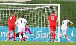 MADRID, SPAIN - Tuesday, November 4, 2014: Real Madrid CF's Borja Mayoral scores the third goal against Liverpool's goalkeeper Ryan Fulton from the penalty spot during the UEFA Youth League Group B match at Ciudad Real Madrid. (Pic by David Rawcliffe/Propaganda)