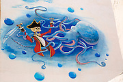 Pirate and octopus wall mural painting, Gran Tarajal, Fuerteventura, Canary Islands, Spain