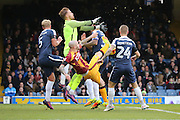Mix up in the box during the EFL Sky Bet League 1 match between Southend United and Bradford City at Roots Hall, Southend, England on 19 November 2016. Photo by Matthew Redman.